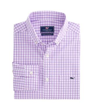 CARLETON GINGHAM CLASSIC STRETCH TUCKER SHIRT SEA URCHIN