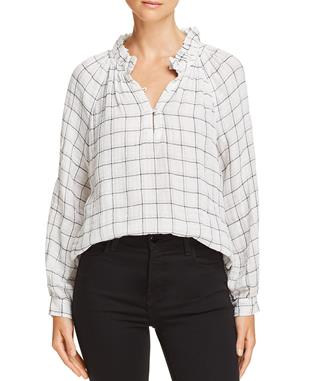 LA VIE LUREX PLAID TOP IN BLACK BLACK COMBO