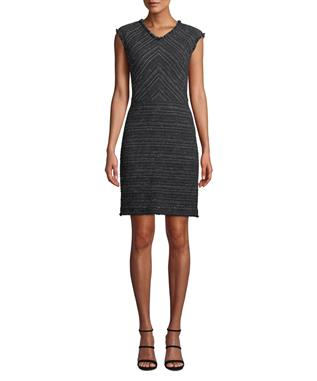 STRETCH TWEED DRESS BLACK COMBO