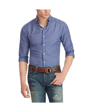 CLASSIC FIT PLAID TWILL SHIRT BLUE