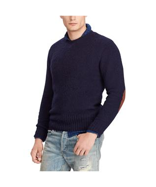 WASHED CREW NECK SWEATER NAVY