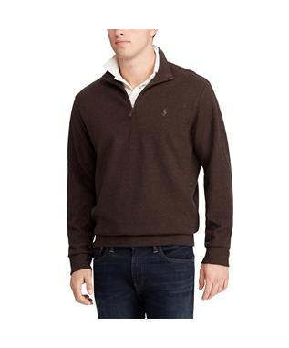 DOUBLE KNIT HALF ZIP PULLOVER BROWN HTR