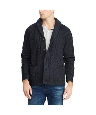 CABLE WOOL CASHMERE CARDIGAN GREY HTR