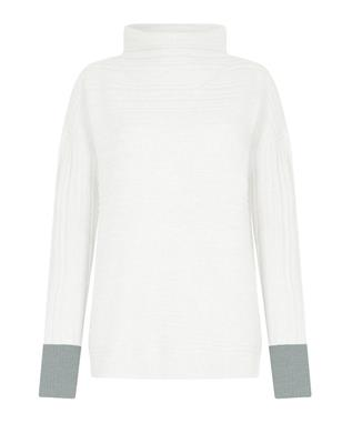 BLOCKED CUFF PULLOVER CREAM / GLASS HTR
