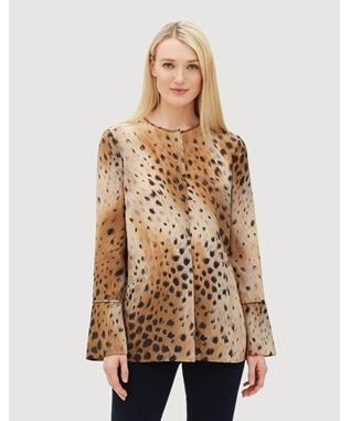 AGAVE LEOPARD SILK IZZIE BLOUSE SADDLE MULTI-244
