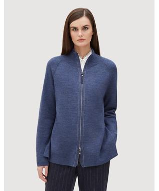 MERINO ZIP FRONT PLAITED CARDIGAN NU BLUE/INK-468