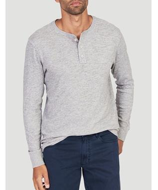 SLUB COTTON HENLEY GREY