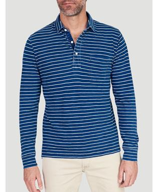LONG SLEEVED POLO EVENING HORIZON STRIPE
