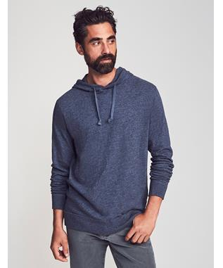 SLUB COTTON HOODIE NAVY HEATHER