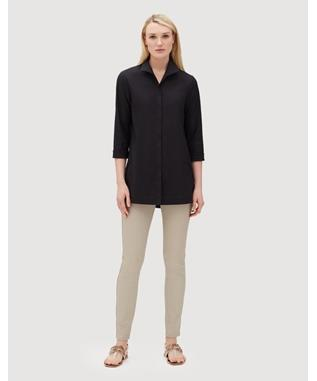 ITALIAN STRETCH COTTON MARLA SHIRT  BLACK