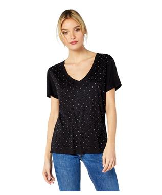 STUDDED V-NECK TEE BLACK