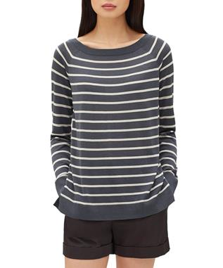 STRIPED RAGLAN SWEATER ASH/STUCCO-032