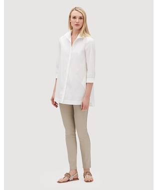 ITALIAN STRETCH COTTON MARLA SHIRT  WHITE