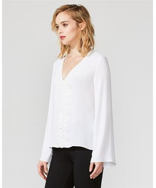 BOLSHEVIK LACE TRIM BLOUSE CHALK