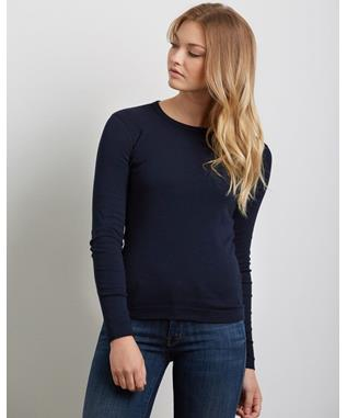 ESSENTIAL HERITAGE KNIT CREWNECK LONG SLEEVE SHIRT DEEP OCEAN