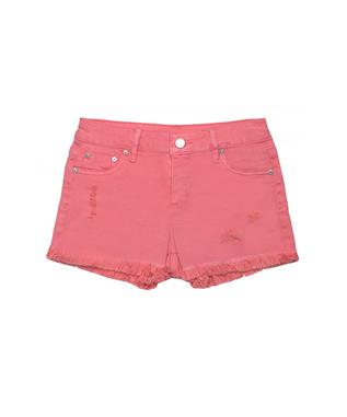 GIRLS FRAY HEM SHORTS SALMON ROSE