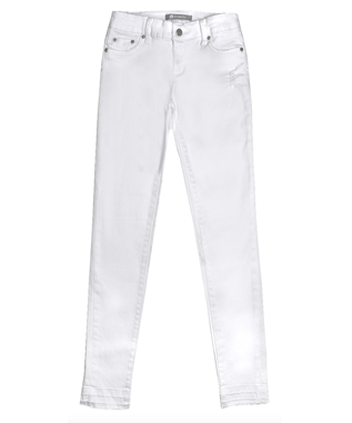 GIRLS RAW HEM SKINNY JEAN WHITE