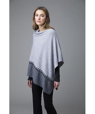 TWIST STITCH COLORBLOCK LACE DETAIL PONCHO STERLING/PEWTER