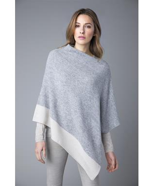 BORDER STRIPE CASHMERE PONCHO STERLING/BIRCH