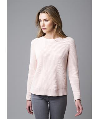 FASHION RIBBED LONG SLEEVE COTTON SWEATER LT PINK