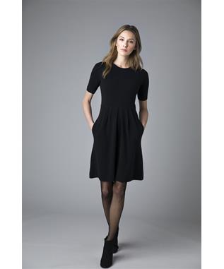 TAILORED SHORT SLEEVE ZIPPER BACK CASHMERE DRESS INKWELL
