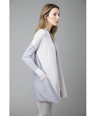 WORSTED COLORBLOCK LONG SLEEVE CASHMERE CARDIGAN STERLING/BIRCH