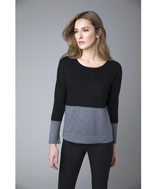 WORSTED COLORBLOCK LONG SLEEVE CASHMERE SWEATER BIRCH/STERLING
