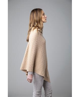 CABLE CASHMERE PONCHO BIRCH