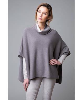 CONTRAST COWL CASHMERE PONCHO IN BLACK BLACK/PEWTER
