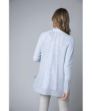 PLAITED CABLE LONG SLEEVE CASHMERE CARDIGAN STERLING MIX