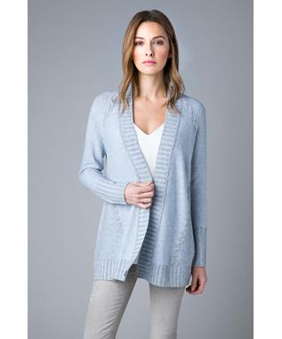 PLAITED CABLE LONG SLEEVE CASHMERE CARDIGAN BIRCH MIX