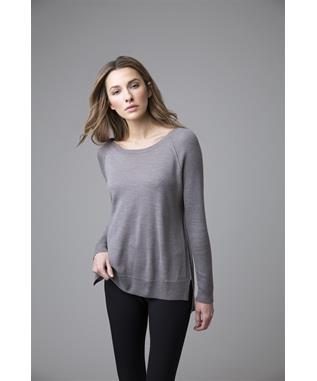 WORSTED HI LO LONG SLEEVE CREWNECK RIBBED CASHMERE SWEATER BALLET SLIPPER