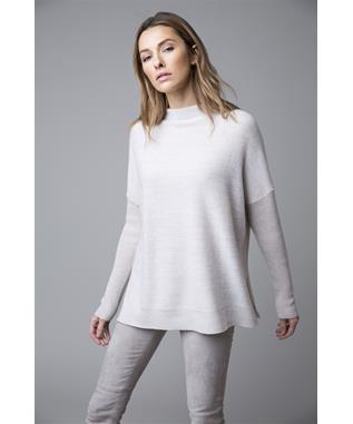 EASLY MARLED LONG SLEEVE MOCK NECK RIBBED CASHMERE SWEATER STERLING/PEWTER