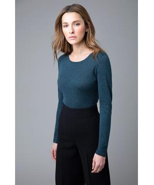WORSTED LONG SLEEVE CREWNECK CASHMERE SWEATER PEWTER