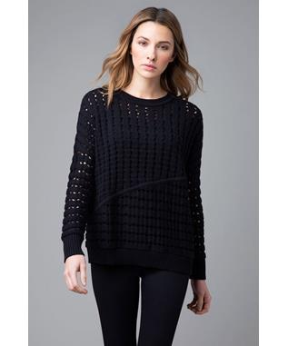 OPEN STITCH LONG SLEEVE COTTON SWEATER BLACK