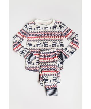 TODDLER FAIR ISLE MOOSE THERMAL JAMMIE SET RED