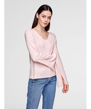 CASHMERE SLIT SLEEVE TWEED V NECK  SUGAR PINK TWEED