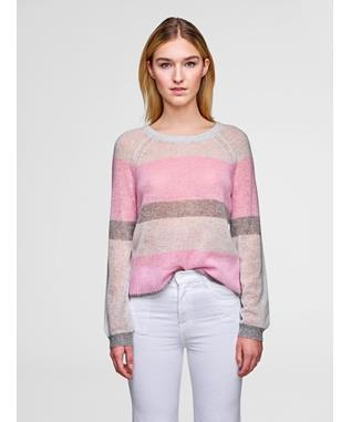 FEATHERWEIGHT CASHMERE BOLD STRIPE CREWNECK SWEATER LOTUS MULTI