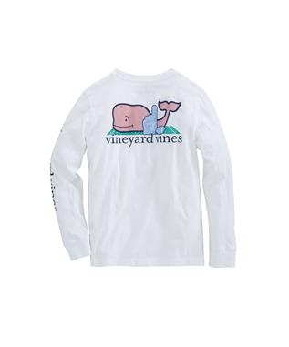 BOYS LONG SLEEVE FAN WHALE TEE WHITE CAP