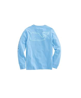 BOYS LONG SLEEVE VINTAGE WHALE TEE MAUI BLUE