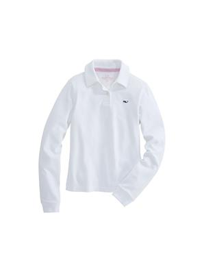 GIRLS LONG SLEEVE SOLID PIQUE POLO WHITE CAP