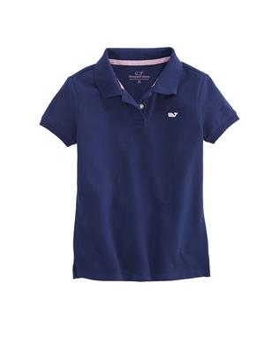 GIRLS SOLID PIQUE POLO DEEP BAY