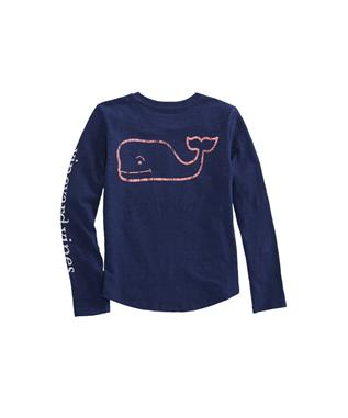 GIRLS LONG SLEEVE SLUB WHALE TEE DEEP BAY