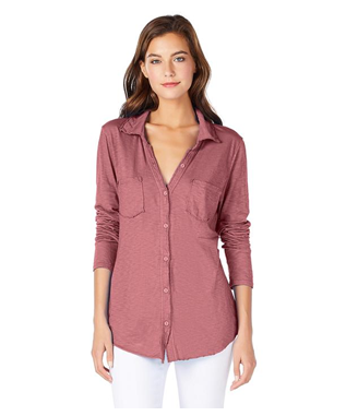 JERSEY BUTTON DOWN ROSE HIPS