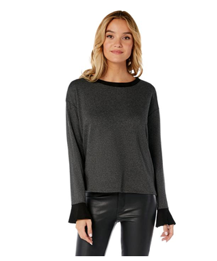 FLOUNCE SLEEVE PULLOVER  CHARCOAL/BLACK SUEDE