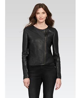 LEATHER STRIP ZIP JACKET BLACK