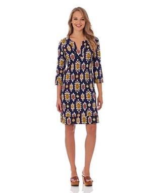 MEGAN TUNIC DRESS MEDALLION NAVY
