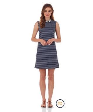 CHELSEA SHIFT DRESS  PENCIL STRIPE NAVY