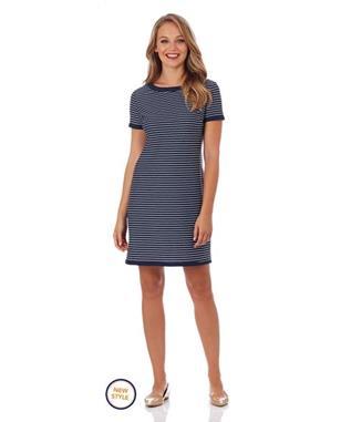 PARKER T-SHIRT DRESS PENCIL STRIPE NAVY
