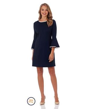 ALICE PONTE FIT & FLARE DRESS DARK NAVY/CREAM